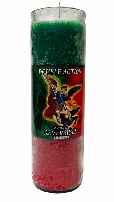 Archangel Saint Michael San Miguel 7 Day Prayer Candle For Making Positive Changes Time To Fight Against All Evils & Protect Your Soul (Green & Red)