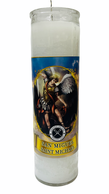 Archangel Saint Michael San Miguel 7 Day Prayer Candle For Making Positive Changes Time To Fight Against All Evils & Protect Your Soul (White)