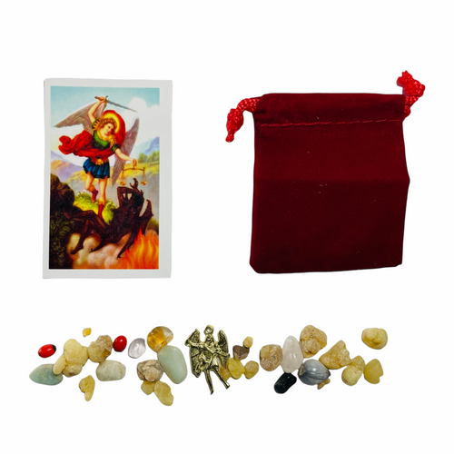 Archangel Saint Michael San Miguel Mojo Bag To Fight Against All Evils & Protect Your Soul (Red)