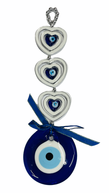 Evil Eye & Hearts Wall Hanging Ancient Symbol Of Protection To Ward Off Evil