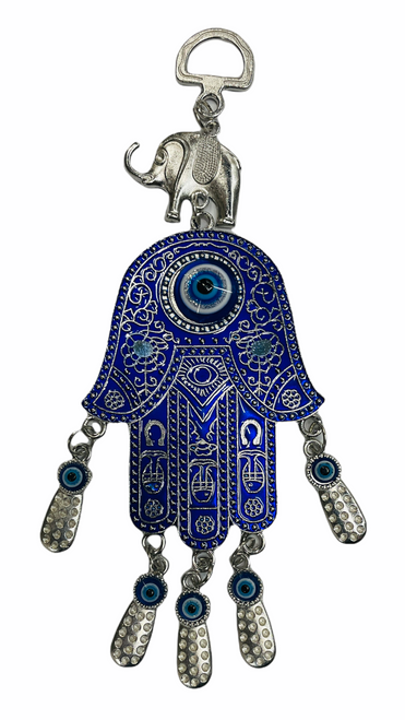 Evil Eye Hamsa & Lucky Elephant Wall Hanging Ancient Symbol Of Protection To Ward Off Evil