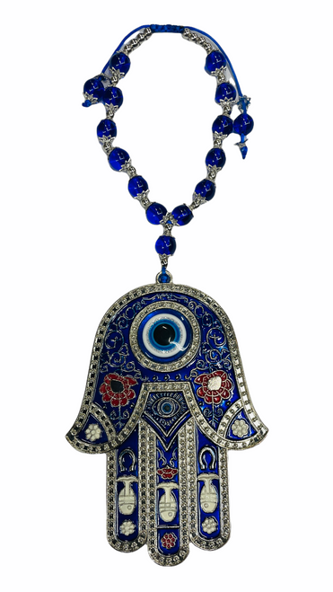 Evil Eye Hamsa W/ Beads Wall Hanging Ancient Symbol Of Protection To Ward Off Evil