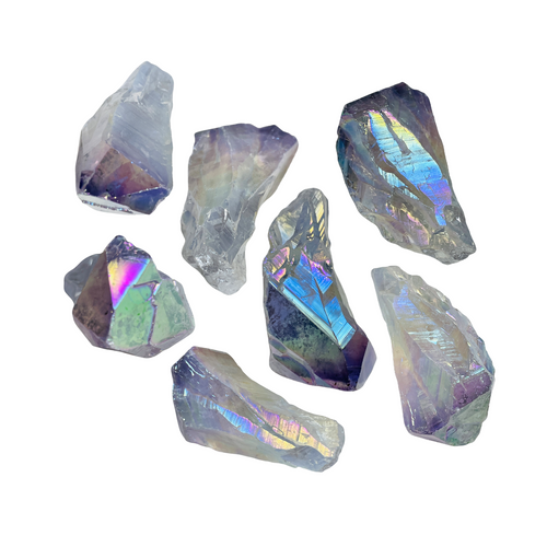 Rainbow Aura Quartz Crystal Natural For Aura Cleanse, Communication, Removing Negativity, ETC. (1 piece)