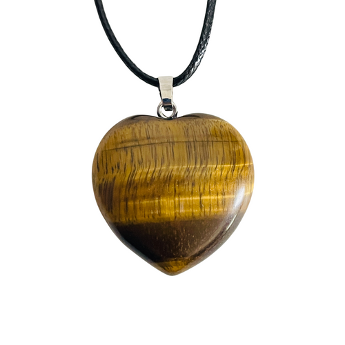 Tiger's Eye Gemstone Heart Necklace For Protection, Creativity, Balance, ETC.