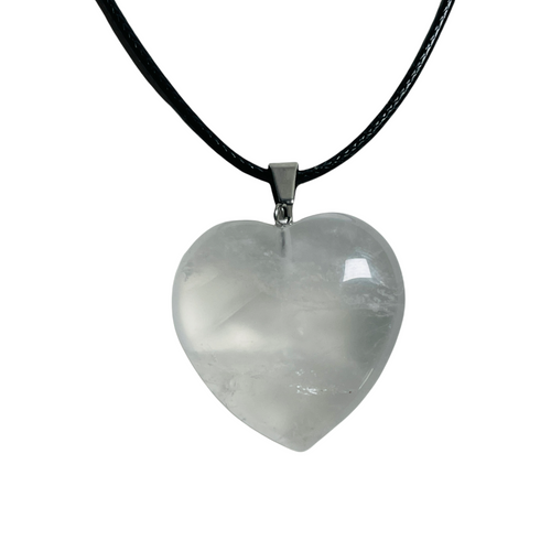 Clear Quartz Gemstone Heart Necklace For Balance, Healing, Cleansing, ETC.