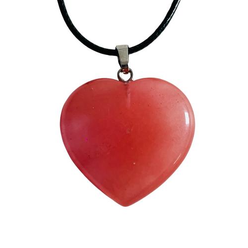 Red Aventurine Gemstone Heart Necklace For Creativity, Balance, Prosperity, ETC.