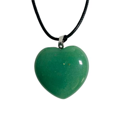 Green Aventurine Gemstone Heart Necklace For Healing, Abundance, Growth, ETC.