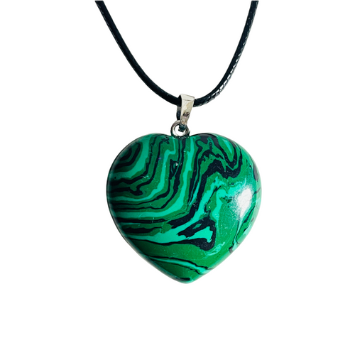 Green Marble Agate Gemstone Heart Necklace For Balance, Luck, Fertility, ETC.