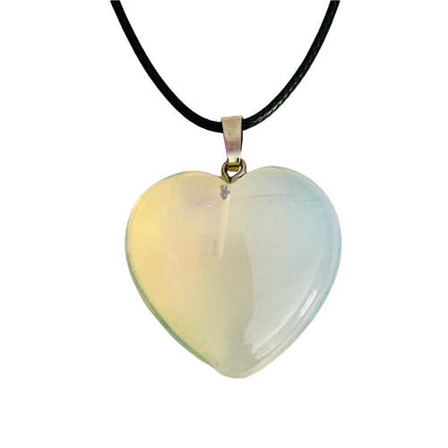 Opalite Gemstone Heart Necklace For Communication, Transition, Stabilize Mood Swings, ETC.