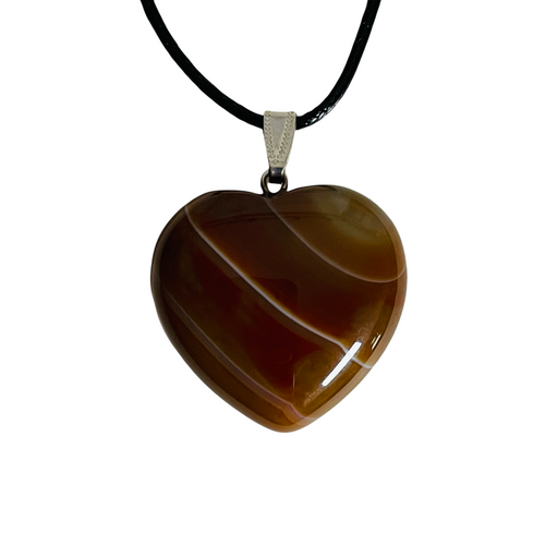 Brown Agate Gemstone Heart Necklace For Comfort, Protection, Balancing Emotions, ETC.