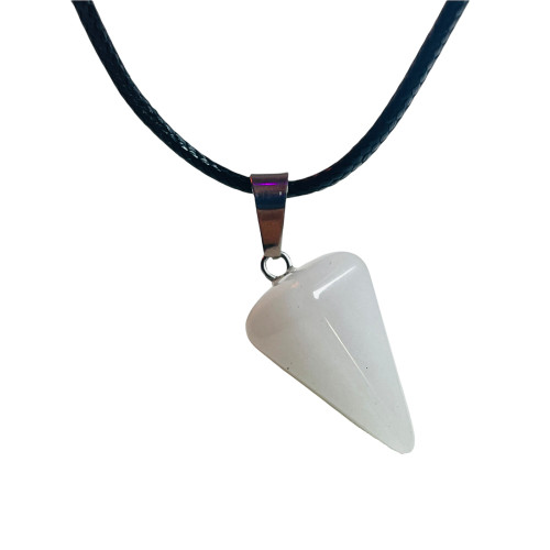 Quartz Pendulum Pyramid Gemstone Necklace For Balance, Healing, Cleansing, ETC.