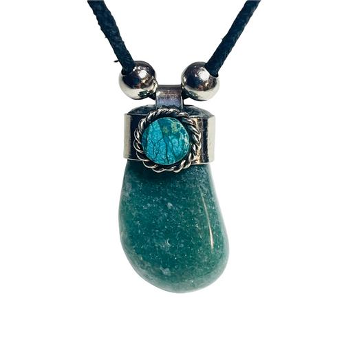 Green Aventurine Adjustable Knot Black Cord Gemstone Necklace For Healing, Abundance, Growth, ETC.