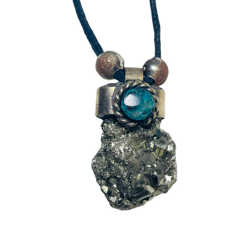 Pyrite Adjustable Knot Black Cord Gemstone Necklace For Prosperity, Protection, Deflects Negativity, ETC.