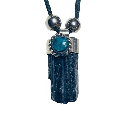 Black Tourmaline Adjustable Knot Black Cord Gemstone Necklace For Prosperity, Protection, Deflects Negativity, ETC.