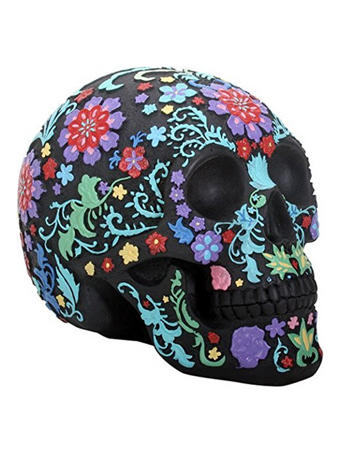"Day of the Dead Engraved Floral Skull Santa Muerte Holy Death Halloween Black Colorful Figurine (8"")"