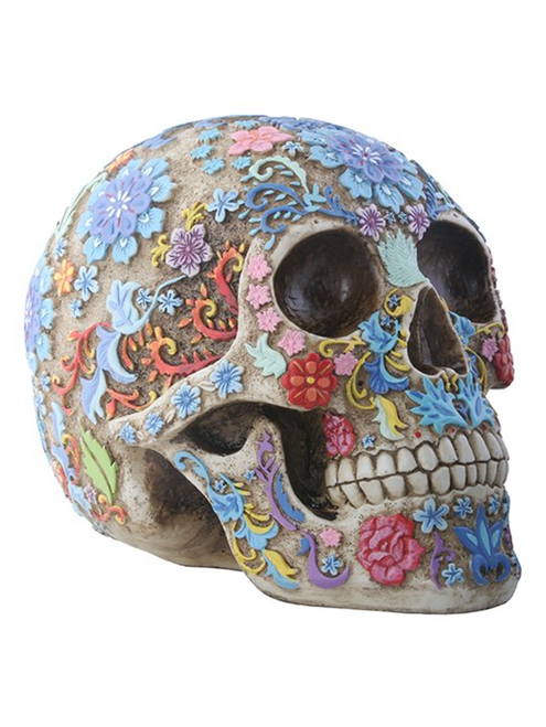 "Day of the Dead Engraved Floral Skull Santa Muerte Holy Death Halloween Colorful Figurine (8"")"