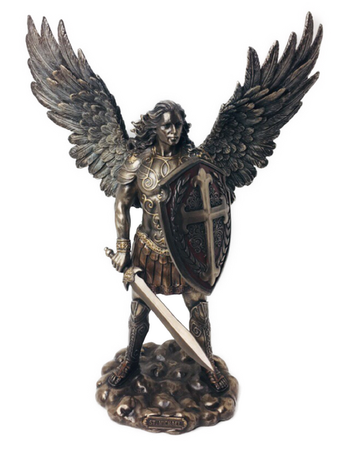 "Archangel Saint Michael With Sword And Shield Guardian Of Justice The Leader Of All The Angels In Heaven Please Guard My Soul Of All That Creates Toxicity In My Life I Am Ready To Pray For Protection (14"" Statue)"