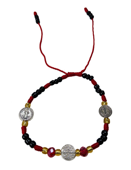 Saint Benedict San Benito Medallion Spiritual Bead Bracelet For Protection From Enemies & Increase Your Inner Strength