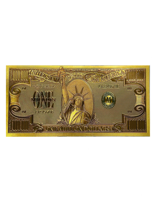 "$1,000,000 Extra Large Oversized 8"" Lucky Golden Spiritual Money Banknote Currency For Good Luck & Economic Protection"