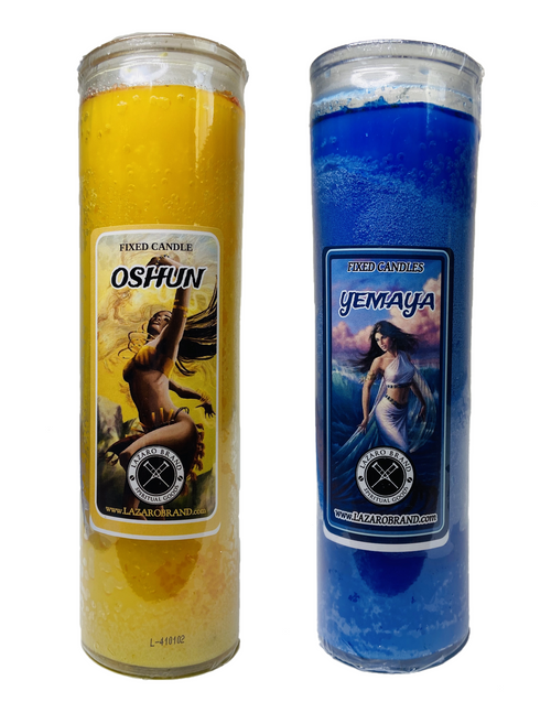 Orisha Yemaya & Orisha Oshun Together As The 2 Waters Dos Aguas 7 Day Prayer Candles For Rejuvenation Fertility & Healing (2 Candles Dressed & Blessed)