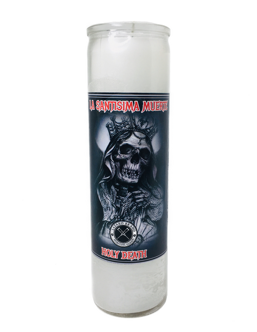 Santa Muerte Holy Death Prayer Candle For Making Positive Changes Time To End Suffering Cut Negative Influences Brighter Future (White)