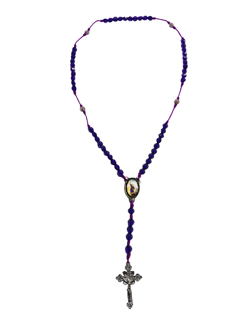 Saint Elijah San Elias Spiritual Father On Mount Carmel Baron Of The Cemetery Of The 21 Divisions Spiritual Rosary Necklace For Protection  (Purple Beads)
