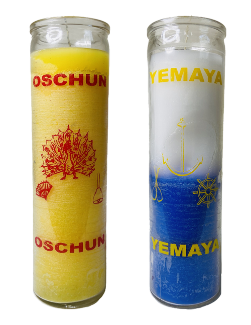 Orisha Yemaya & Orisha Oshun Together As The 2 Waters Dos Aguas 7 Day Prayer Candles For Rejuvenation Fertility & Healing (2 Candles)