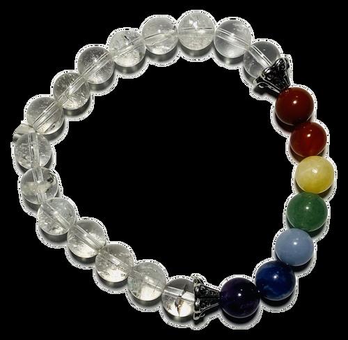 Clear Quartz Stones & Chakra Stones Spiritual Bead Bracelet (8mm Beads)