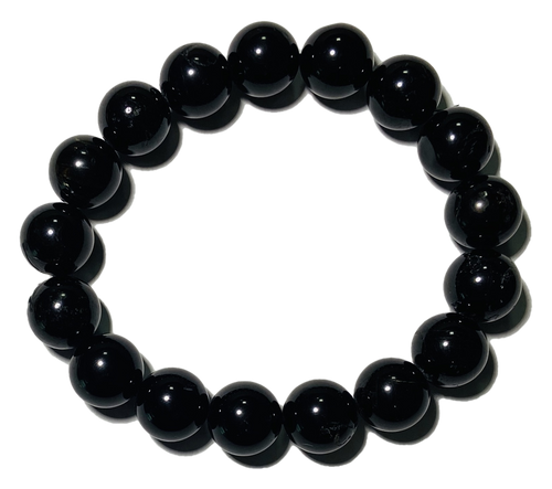 Black Tourmaline Stones Spiritual Bead Bracelet (12mm Beads)