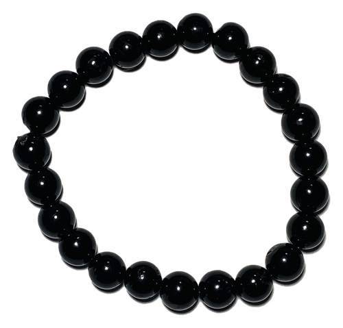 Black Tourmaline Spiritual Bead Bracelet (8mm Beads)