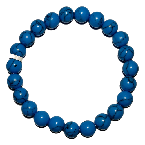 Synthetic Turquoise Spiritual Bead Bracelet (8mm Beads)