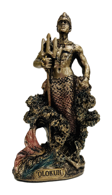Orisha Olokun The Ruler Of The Waters Statue For Healing & Strength - 4""