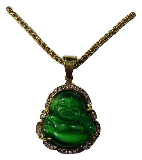 "Lucky Buddha Pendant 1.5"" With Stainless Steel Necklace (Green #1)"