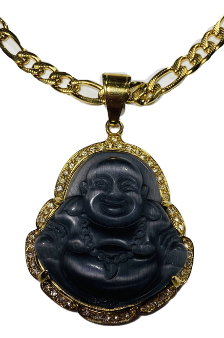 "Lucky Buddha Pendant 2"" With Stainless Steel Necklace (Dark Grey #1)"