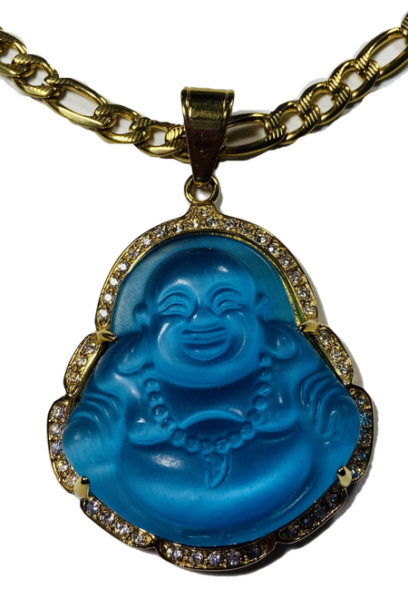 "Lucky Buddha Pendant 2"" With Stainless Steel Necklace (Bright Blue #2)"
