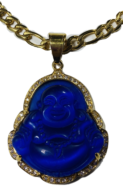 "Lucky Buddha Pendant 2"" With Stainless Steel Necklace (Dark Blue #2)"