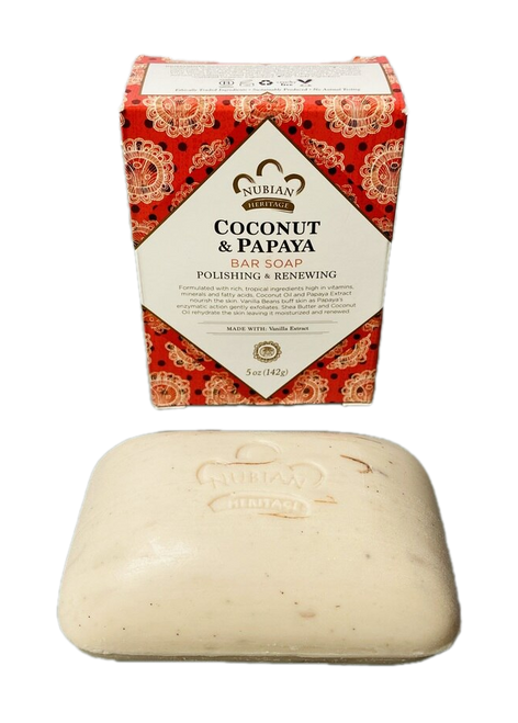 Coconut & Papaya Bar Soap Polishing & Renewing Made With Vanilla Extract (5oz Soap Bar)