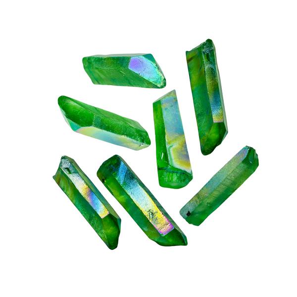 Green Aura Quartz Crystal Point For Protection, Balance, Energy, ETC. (1 piece)