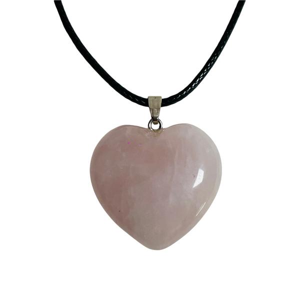 Rose Quartz Gemstone Heart Necklace For All Types of Love, Compassion, Self Esteem, ETC.