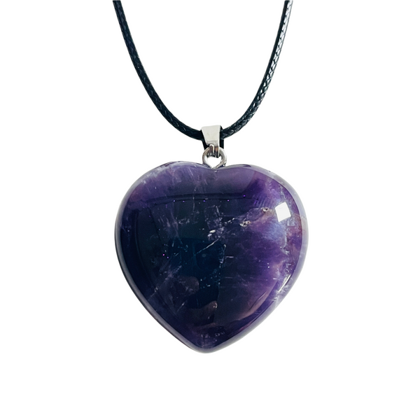 Amethyst Gemstone Heart Necklace For Protection, Purification, Spirituality, ETC.