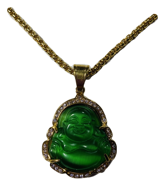 """Lucky Buddha Pendant 1.5"""" With Stainless Steel Necklace (Green #1)"""