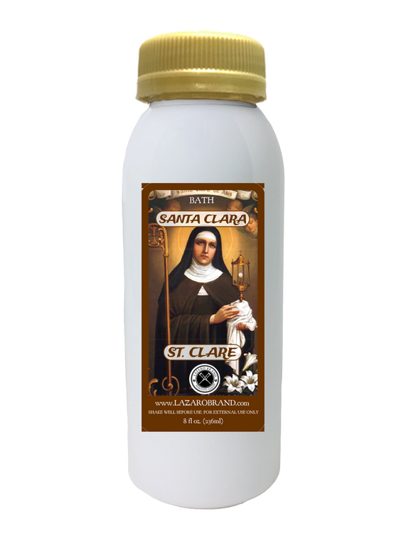 Saint Clare For Healing Hands Cure Grief End Suffering Change Your Lifestyle To Positive (Spiritual Bath Liquid 8oz)