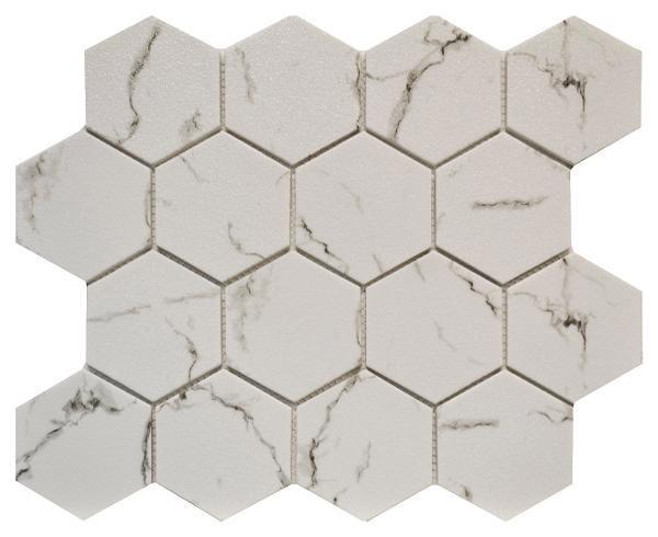"""Carrara 3"""" Hexagon Glass Mosaic 10.2x11.7 - EACH"""