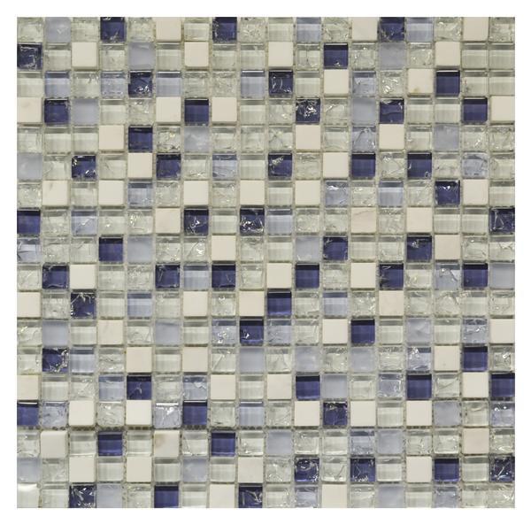 Carrara/Blue/White Crackle 5/8 Mosaic 12x12