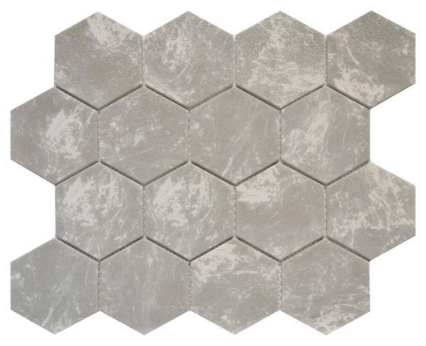 """Grey Marble 3"""" Hexagon Glass Mosaic 10.2x11.7 - EACH"""
