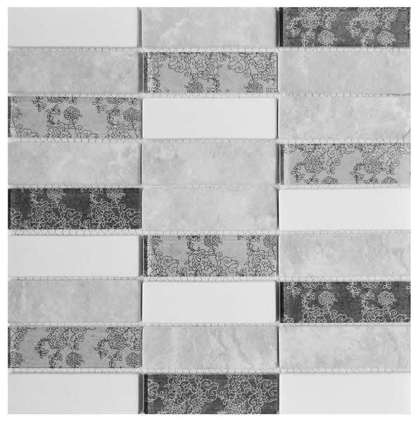 Dark/Light Grey 1.5x4 Soldier Glass Mosaic 12x12