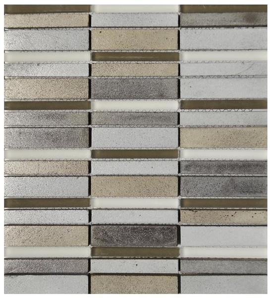 Taupe Vertical Basalt Glass Mosaic 12x13