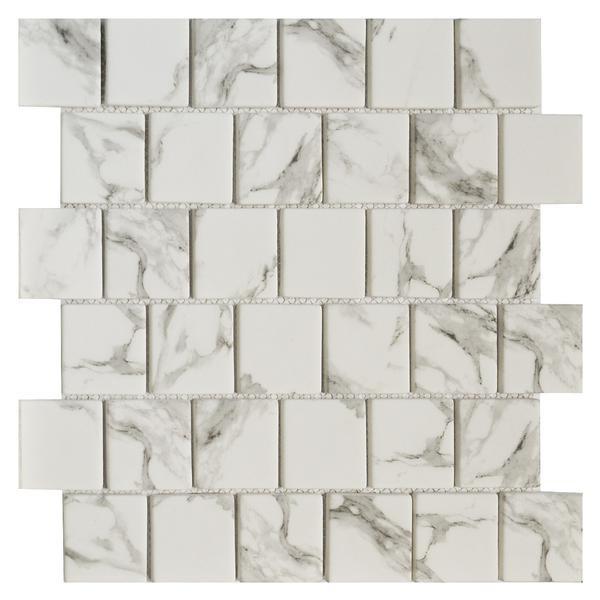 Carrara Offset 2x2 Glass Mosaic - EACH