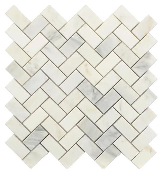 Statuary Carrara White Marble Herringbone Mosaic Polished 12x12 - EACH