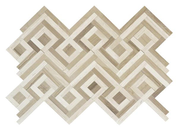 Wooden White/Athens Grey Zig Zag Polished Mos - EACH